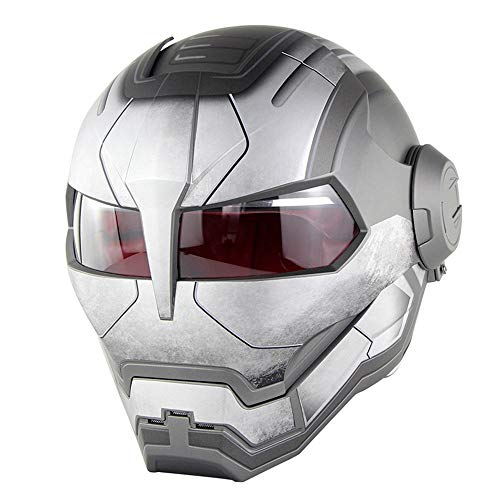 CFYBAO Retro Harley Unveiled Helm Personality Creative Motorcycle Helm Iron Man Transformers Open Face Helmet Helmet,Gray,L