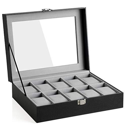 SONGMICS Uhrenbox mit 10 Fächern, Uhrenkasten mit Glasdeckel, Uhrenkoffer mit Herausnehmbaren Uhrenkissen, SAMT-Innenfutter, Metallverschluss, aus PU, Schwarz JWB010BK, Grau, 25,4 x 7,8 x 20,2 cm