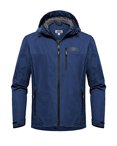Outdoor Ventures Men's Lake Waterproof Raincoat Windbreaker Lightweight Packable Rain Jacket Navy