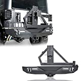 Hooke Road Wrangler JK Rear Bumper with Spare Tire Carrier and 2' Receiver Hitches Compatible with...