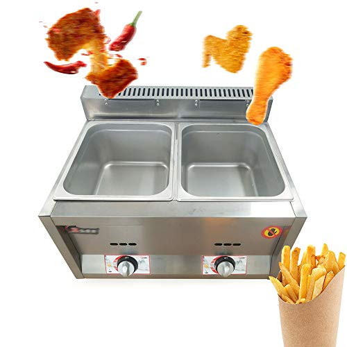 12 Liter Dual Tanks Commercial Stainless Steel Deep Fryer High Capacity Professional Gas Countertop Kitchen Frying Machine for French Fry Restaurants Supermarkets Fast Food Stands