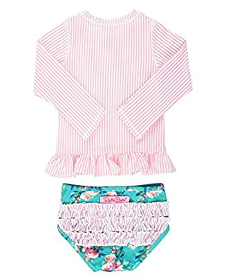 RuffleButts Baby/Toddler Girls Pink Seersucker Floral Long Sleeve Rash Guard Bikini - 3-6m