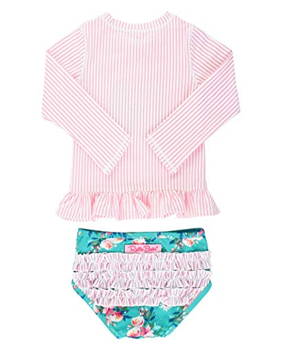 RuffleButts Girls Pink Seersucker Floral Long Sleeve Rash Guard Bikini - 2T