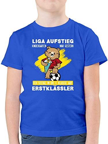 Einschulung und Schulanfang - Liga Aufstieg in die erste Klasse gelb/weiß - 152 (12/13 Jahre) - Royalblau - Spruch - F130K - Kinder Tshirts und T-Shirt für Jungen