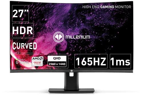 MILLENIUM Display, WQHD curved Gaming Monitor (2560x1440 Pixel)- 165hz Monitor mit niedriger Response Time (1ms), 1440p PC Bildschirm für Gamer, höhenverstellbar & drehbar schwarz 27 Zoll, MD27PRO 165