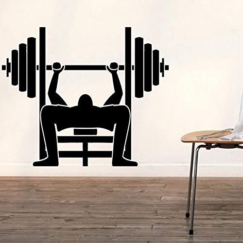 Tong99 Fitnessruimte-sticker, fitness, lange halter, oefening, volume, vinden, sticker, fitness, poster, vinyl, wandtattoo, decoratieve wandfoto, fitnessstudio, San 48 x 58 cm