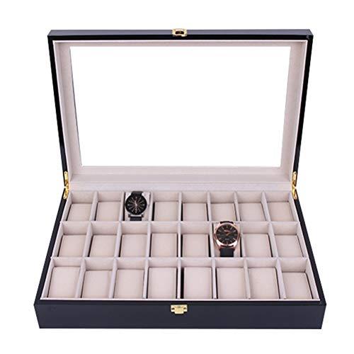 Estuche de Almacenamiento para Relojes, Caja de almacenamiento de exhibición de reloj de madera clásico 24 ranuras Reloj de caja Organizador para hombres Mujeres Brazaletes Brazaletes Soporte de joyer