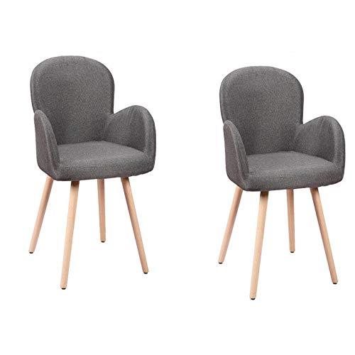 HENGMEI 2 x Konferenzstuhl Esszimmerstuhl Wohnzimmerstuhl Designerstühle Sitzgruppe Bürostuhl Küchenstuhl, Buchenholz mit Massivholz Bein (Dunkelgrau)