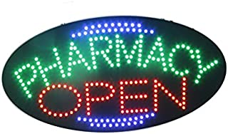 LED Pharmacy Open Light Sign Super Bright Electric Advertising Display Board for Drugstore Chemists's Shop Store Window Bedroom Decor (19 x 10 inches)