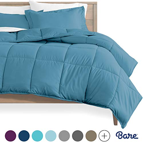 Bare Home Comforter Set - Queen Size - Goose Down Alternative - Ultra-Soft - Premium 1800 Series - Hypoallergenic - All Season Breathable Warmth (Queen, Coronet Blue)