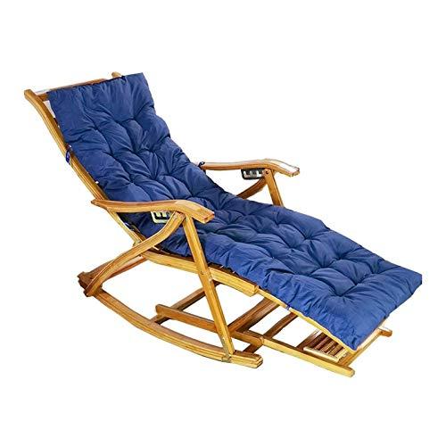 HIZLJJ Bamboo Rocking Chair Adjustable Folding Deck Chair Summer Outdoor Garden Lawn Balcony Sun Loungers,Removable Cushion