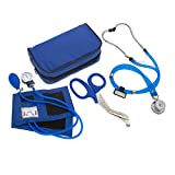 ASATechmed Nurse/EMT Starter Pack Stethoscope, Blood Pressure Monitor and Free Trauma 7.5' EMT Shear Ideal Gift for Nurse, EMT, Medical Students, Firefighter, Police and Personal Use (Royal Blue)