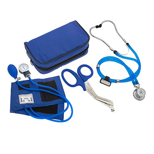 ASA Techmed Nurse EMT Starter Pack Stethoscope, Blood Pressure Monitor and Free Trauma 7.5  EMT Shear Ideal Gift for Nurse, EMT, Medical Students, Firefighter, Police and Personal Use (Royal Blue)