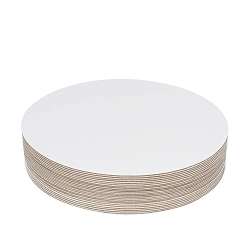 "YBCPACK 24 Pcs 10"" Cake Boards(White)- Cardboard Round Cake Circle Base for Cake, Pizza"