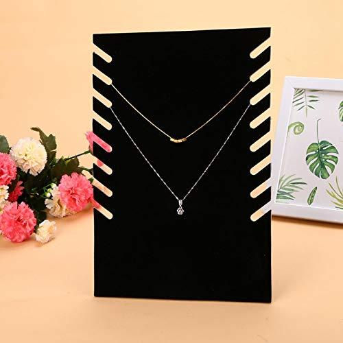 Soporte para collar, exhibición de collar de franela negra de gran capacidad para collar, soporte para colgante de joyería