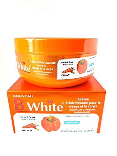 Crème éclaircissante - Pour le Visage et Corps - B WHITE Piment Doux avec Carotte - Crème hydratante - 500 ml - Lightening Face & Body Cream - Sweet Pepper with Carrot - Moisturizing Cream