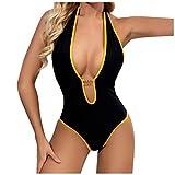 Bañador de una pieza para mujer, sexy, cuello en V, espalda descubierta, sin mangas, para verano, playa Negro L