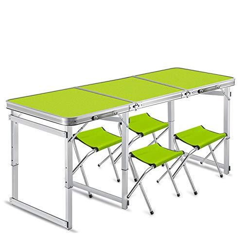 JCCOZ -T Mesa plegable portátil para 6 personas, camping, comer al aire libre, fiesta, tabla de aluminio ajustable para camping, senderismo, viajes, T