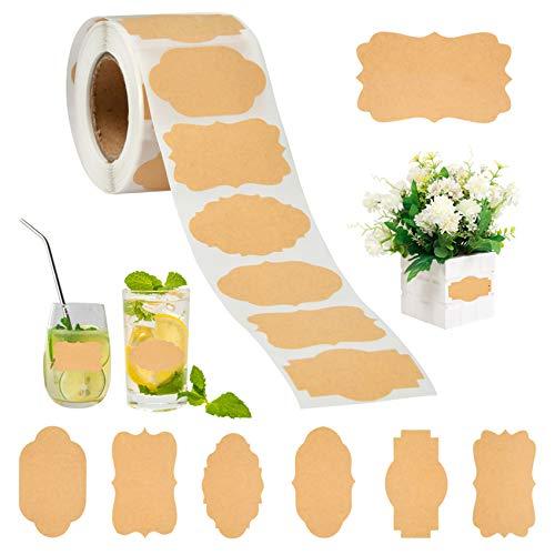 BUYGOO 500Pcs Etiketten Selbstklebend Aufkleber aus Kraftpapier - Wasserdicht Blanko Labels Sticker Tafelaufkleber für Küche Marmeladengläser Backen Verpackung Basteln Geschenk