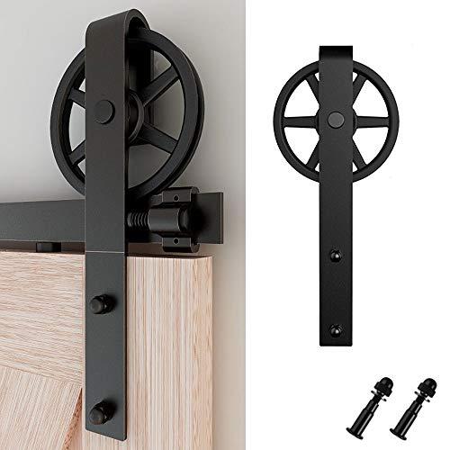 201cm/6.6FT Schiebetürbeschlag Set Schiebetürsystem Zubehörteil für Schiebetüren Innentüren, Schwarz/Sliding Barn Door Hardware Kit Big Spoke Wheel