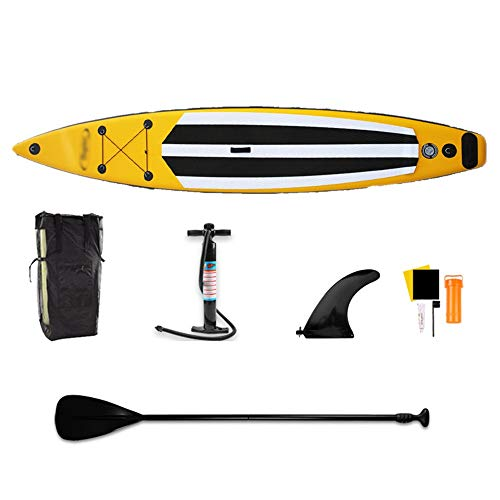 GQMNL Inflatable Stand Up Paddle Board KIT Inflatable Racing SUP Board Stand Up Paddle Board Set for River Floating Touring,Surfing,Water Yoga Complete KIT (Color : Yellow, Size : 381x71x15cm)