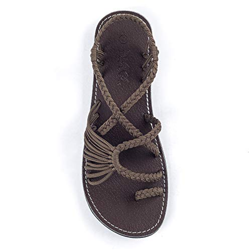 Plaka Palm Leaf Flat Summer Sandals for Women | Perfect for the Beach Walking & Dressy Occasions | Taupe | Size 9