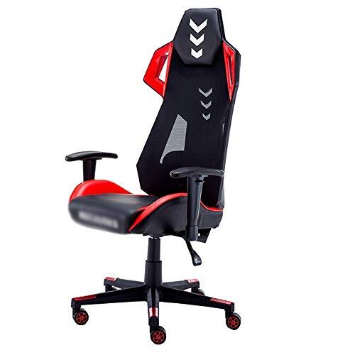 N&O Renovation House Chair Racing Gaming Computer Silla de Oficina Pasamanos de elevación 170 Grados Cojín de Carreras reclinable cómodo Capacidad de Carga 300 kg 2 Colores (Color: Negro Rojo)