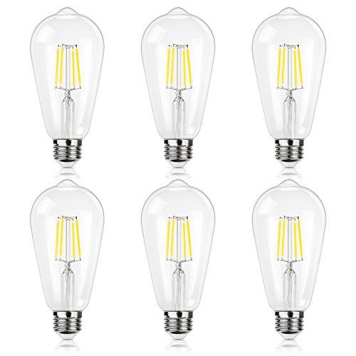 Antique LED Bulb, SHINE HAI 4W (40W Equivalent) ST64 Vintage Edison Light Bulb LED Lighting, 470 Lumens Daylight White 5000K E26 Base, Pack of 6