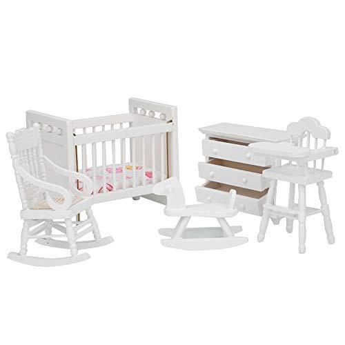 Dollhouse Cabinet, Bed Seat Miniature Furniture, Wooden Children for Baby Children(5-piece set)