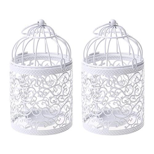 Moregirl - Linterna Colgante de Jaula para pájaros de Metal pequeña, centros de Mesa Decorativos Vintage de Bodas y Fiestas, Paquete de 2 (Blanco)