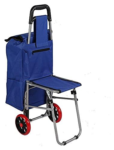 TabloKanvas Carro de la Compra Plegable de la Trolley con carros de comestibles Plegables de Asiento Dolly con Bolsa Azul (Color : Blue)