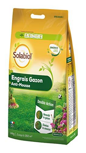 Solabiol SOGAZMOU350 Engrais Anti 14 Kg | Double Action : reverdit Le Gazon et élimine la Mousse, Puissant