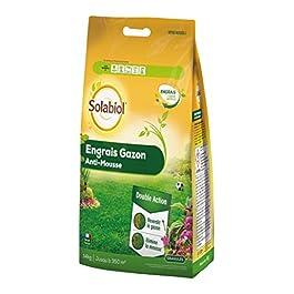 Solabiol SOGAZMOU350P Engrais Anti 14 Kg Promo | Double Action : reverdit Le Gazon et élimine la Mousse, Puissant