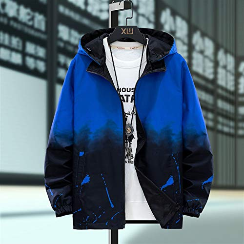 SIRENK Hombres chaqueta ropa de sport en ambos lados de degradado con capucha otoño prendas de vestir exteriores de las chaquetas y ropa Streetwear hombres más tamaño 7XL