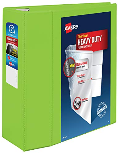 """Avery Heavy Duty View 3 Ring Binder, 5"""" One Touch EZD Ring, Holds 8.5"""" x 11"""" Paper, 1 Chartreuse Binder (79815)"""