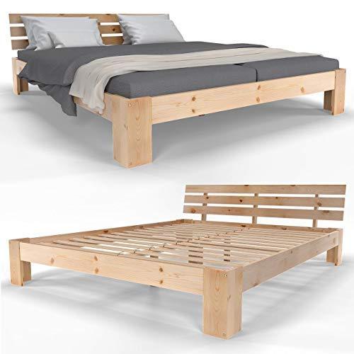 Homelux Holzbett Massivholz Bett Kiefer Doppelbett Balkenbett Bettgestell Bettrahmen Lattenrost 180 x 200 cm Natur