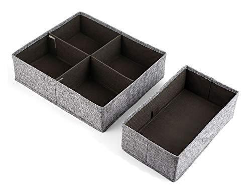 BrilliantJo leinen Aufbewahrungsboxen, 2er Set Schubladen Organizer Unterwäsche Socken Organizer Ordnungssystem Stoffbox für Kind Product, Unterwäsche, Kopfschmuck Grau faltbar