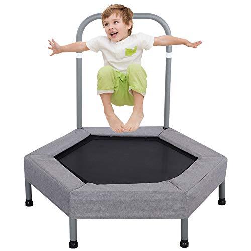 LBLA 40'Kinder-Mini-Trampolin mit Griff, elastischem Seiltrampolin, Sicherheits- und langlebigem Kindertrampolin mit Schwammstoffbezug (grau)