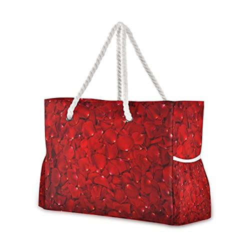 Grand sac de plage fourre-tout en toile avec motif pétales de rose rouges résistant à l'eau pour salle de sport, voyage, 00 quotidien