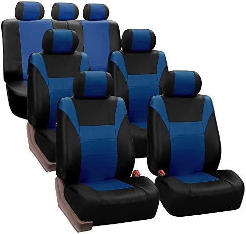 FH PU003217 Racing PU Leather Three Row Set Car Seat Covers Airbag Ready and Split Blue Black product image