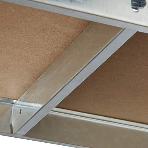 Relaxdays Schwerlastregal mit Werkbank, 900 Kg 5 Böden, Freistehend, HBT 180x 100 x 60 cm, Metall, MDF, Steckregal, grau - 4