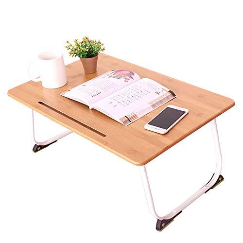 KKDWJ Klapptisch für Bett, beweglichen Laptop-Schreibtisch, mit Karten-Slot und Non-Slip-Fuss-Auflage, Geeignet für Schlafzimmer und Wohnzimmer,Braun