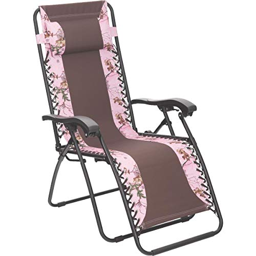 SIM SUPPLY Outdoor Expressions Realtree Zero Gravity Relaxer Pink/Brown Camo Convertible Lounge Chair - 1 Each