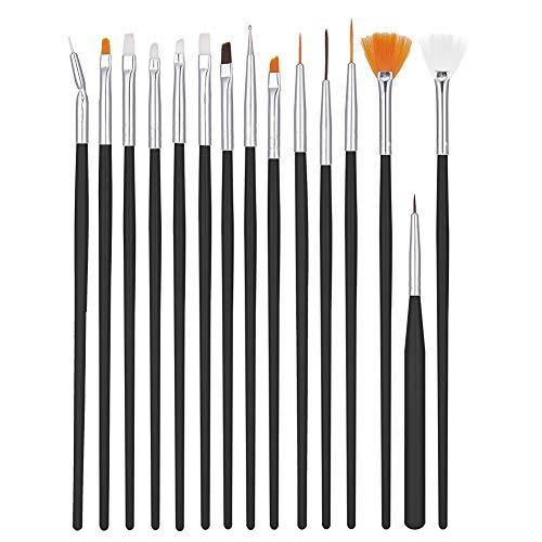 upain 15 Pinceles para Uñas de UV Gel, Nail Art Pen Brush, Acrílico Uñas de Gel, Nail Art Pintura Dibujo línea Herramienta, Juego de Herramientaspara Decoración de Uñas (Negro)