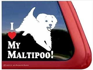 I Love My Maltipoo! ~ PlayfulMaltipoo Dog High Quality Window Decal Sticker