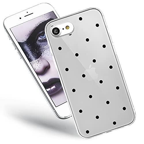 QULT Handyhülle kompatibel mit iPhone SE 2020, iPhone 7/8 Hülle transparent dünn Bumper Silikon Schutzhülle durchsichtig Hülle mit Motiv Schwarze Punkte