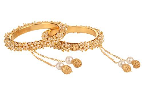 Efulgenz Modeschmuck Indische Bollywood 14 K Gold plattiert Kunstperlen Armband Brautschmuck Quaste Armreif Set (2 Stück) - 2.80
