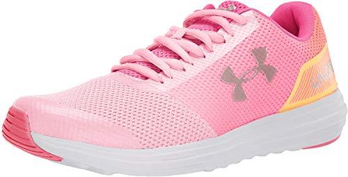 Under Armour Girls' Grade School Surge Prism Sneaker, Pop Pink (600)/Pinkadelic, 5