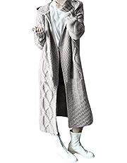 FRAUIT Gebreide damesjas met capuchon, lange open trui, dikke parka, jas met capuchon, winterjas, wollen jas