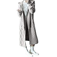 Idea Regalo - FRAUIT Maglioni Donna Invernali Eleganti Lunghi Sexy Maglieria Donna Taglie Forti Cappotto Lungo Donna con Cappuccio Primavera Maglie Donna Particolari Maglione Caldo Donna Inverno Tumblr Cardigan